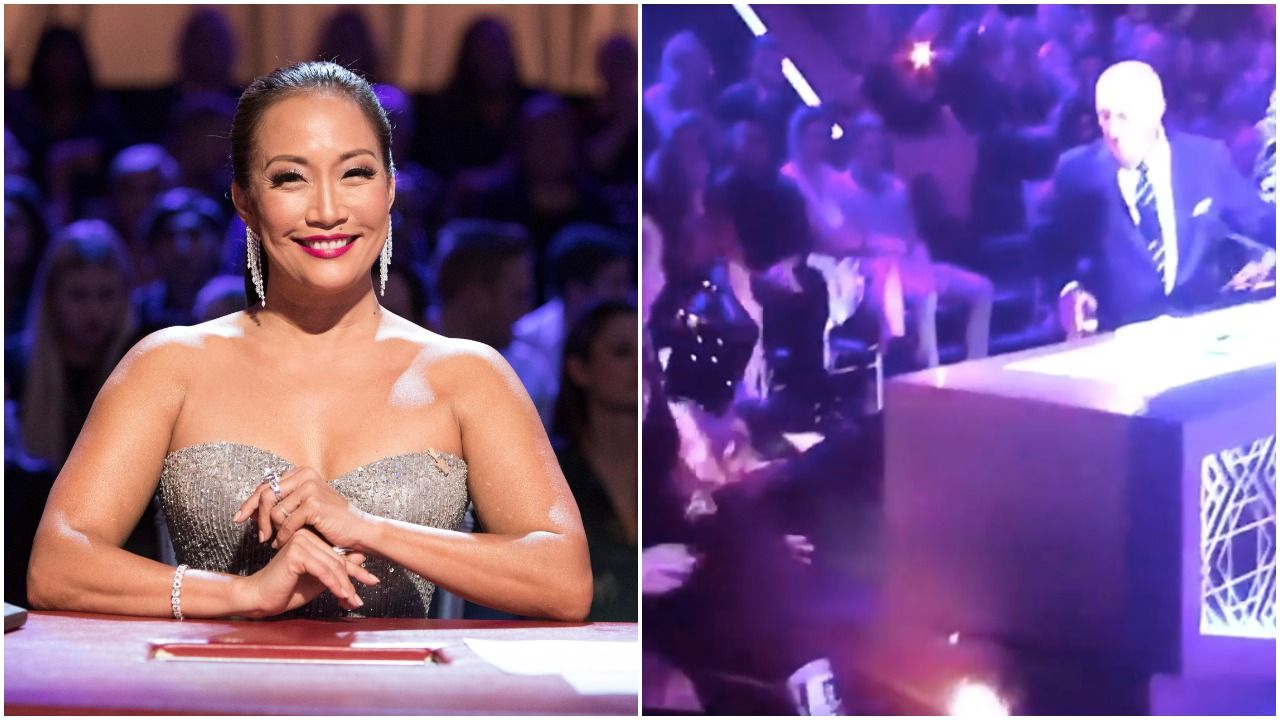 'DWTS' Judge Carrie Ann Inaba Fully Fell Out of Her Chair on Live TV Last Night, and Yes, There's Video