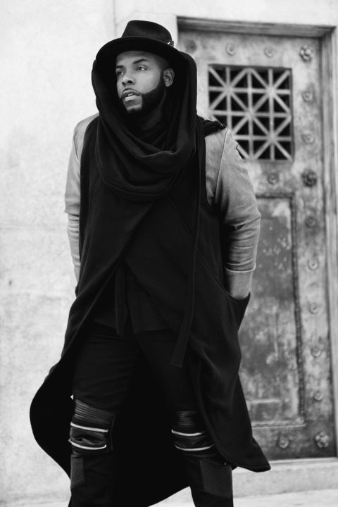 Black, Photograph, White, Black-and-white, Shoulder, Standing, Outerwear, Fashion, Monochrome, Hoodie,