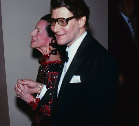 Yves Saint Laurent with Diana Vreeland at Costume Institute Ball