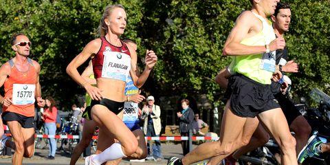 Shalane Flanagan 12K into the 2014 Berlin Marathon