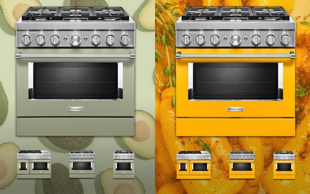 green and yellow gas ranges