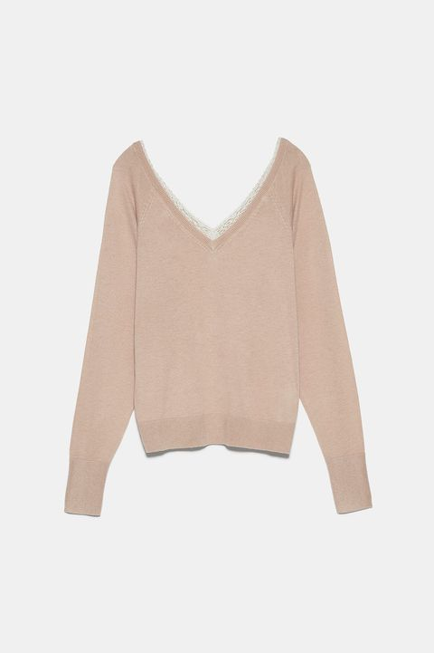 Clothing, Sleeve, Shoulder, Outerwear, Beige, Pink, Crop top, Sweater, Neck, Blouse,