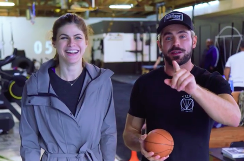 Zac Efron works out with 'Baywatch' co-star Alexandra Daddario in his YouTube fitness series 'Gym Time'.