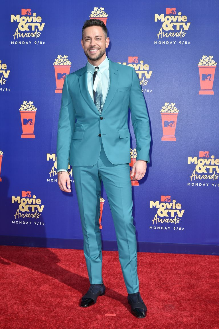 Zachary Levi in Paul Smith, arriving at the MTV Movie & TV Awards.