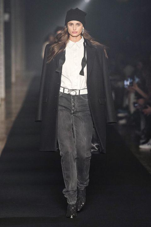 Fashion, Runway, Fashion show, Fashion model, Clothing, Denim, Jeans, Outerwear, Fashion design, Model,