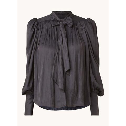zadigvoltaire tim blouse van satijn met strikkraag