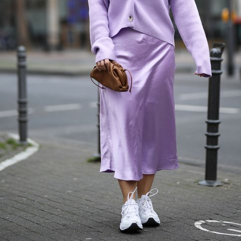 cologne, germany   january 24 lou beyer wearing edited sweater and skirt, nike sneaker and bottega veneta mini pouch on january 24, 2020 in cologne, germany photo by jeremy moellergetty images
