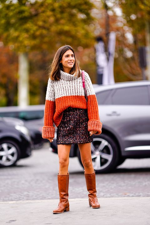 Clothing, Street fashion, Orange, Photograph, Fashion, Footwear, Boot, Knee-high boot, Knee, Brown,