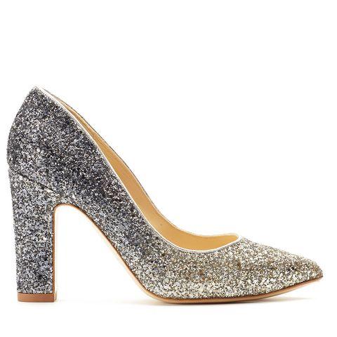 Footwear, High heels, Court shoe, Shoe, Glitter, Basic pump, Bridal shoe, Slingback, Fashion accessory, Beige,