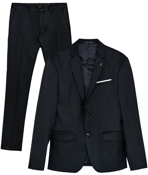 Clothing, Suit, Outerwear, Blazer, Jacket, Black, Formal wear, Pocket, Sleeve, Button,