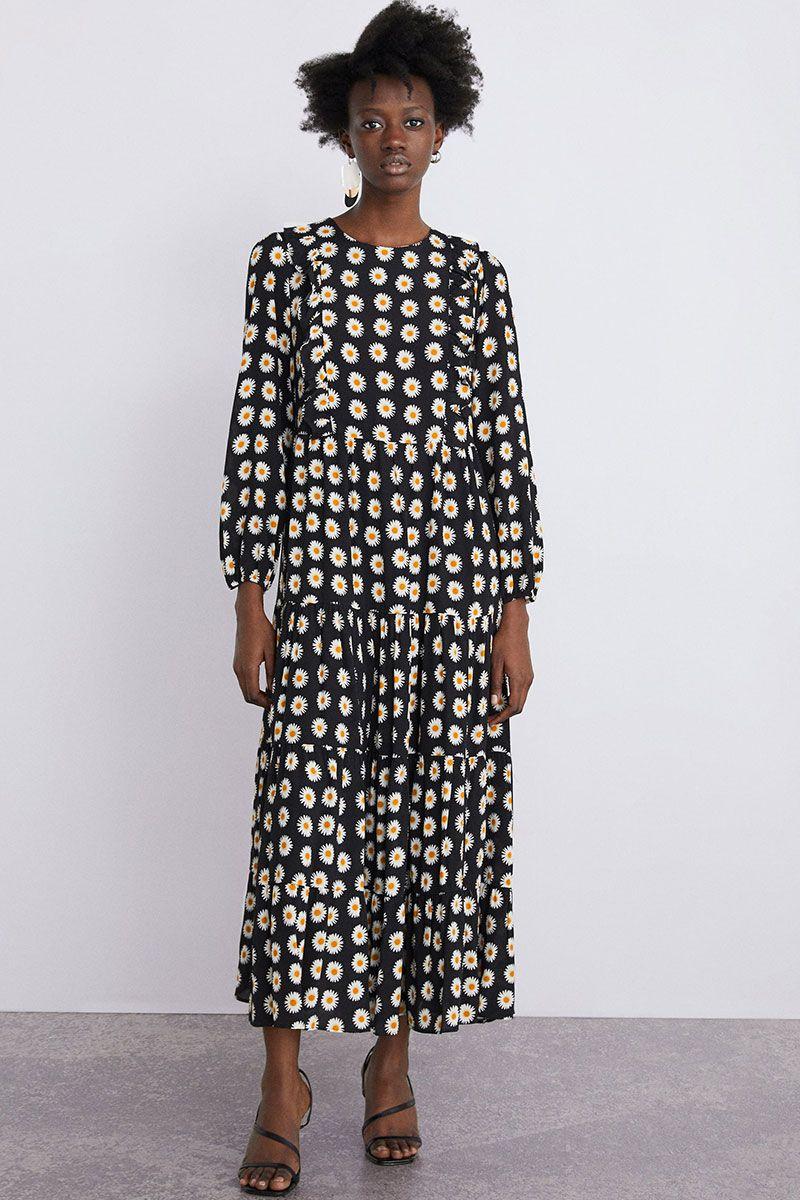 c8d84f88 Floral Print Midi Dress Zara - raveitsafe