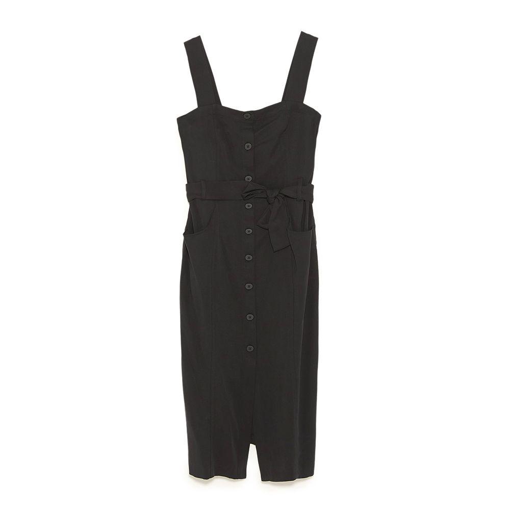 zara black midi dress with buttons