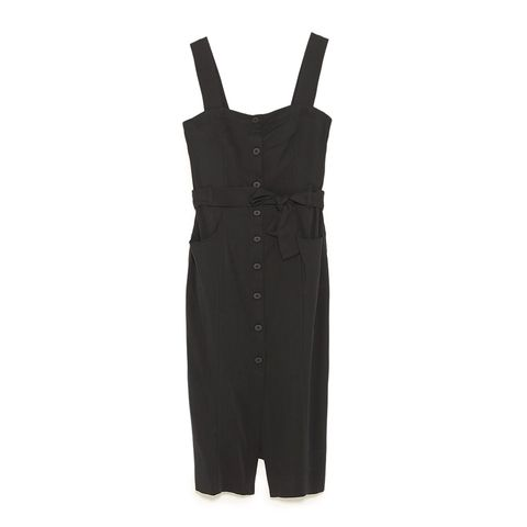 zara black midi dress with buttons