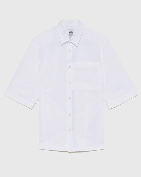 camisa zara, manga corta, hombre, zara