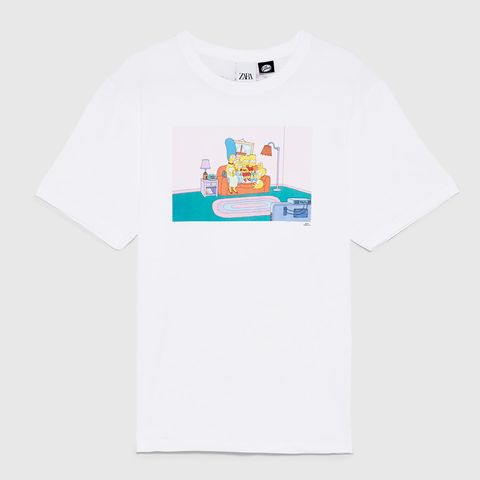 Zara camiseta blanca simpsons, camiseta simpsons