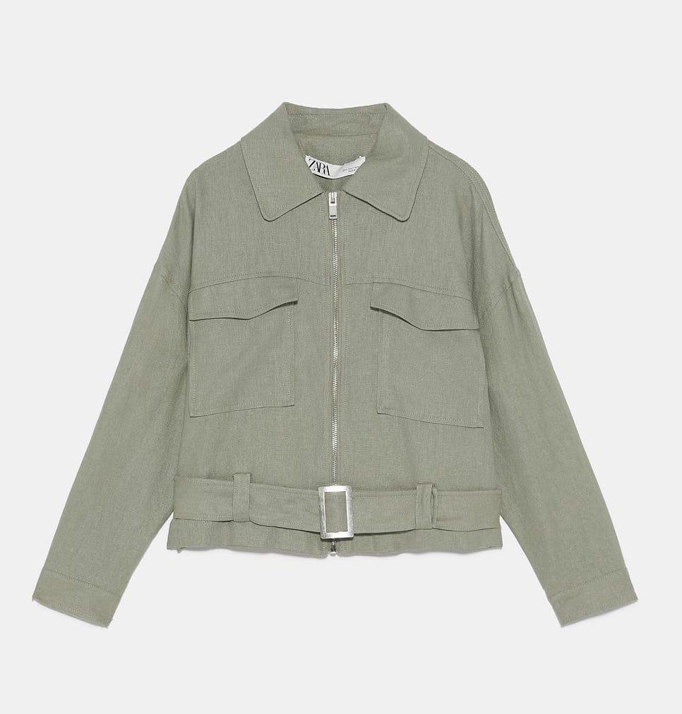Zara Khaki Cropped Utility Jacket