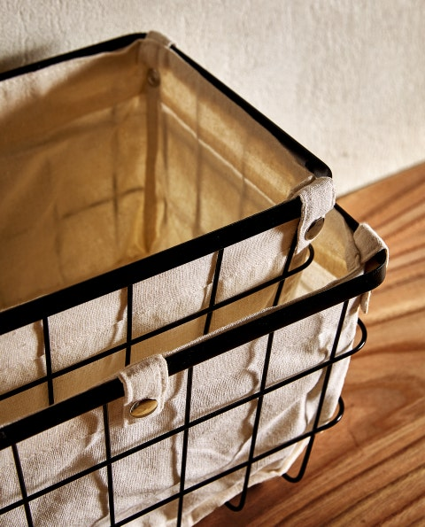 Iron, Lighting, Storage basket, Metal, Light fixture, Basket, Furniture, Table, Rectangle, Beige,