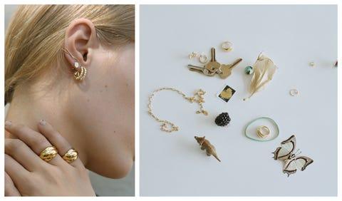 Ear, Jewellery, Fashion accessory, Body jewelry, Organ, Neck, Earrings, Metal,