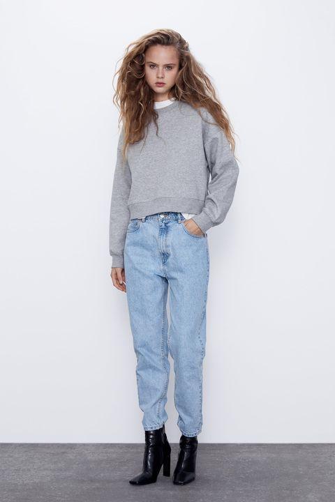 Sudadera gris cropbásica de Zara