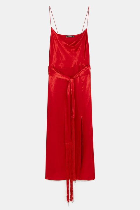 Red, Clothing, Dress, Cocktail dress, Satin, Day dress, Textile, Outerwear, Strapless dress,