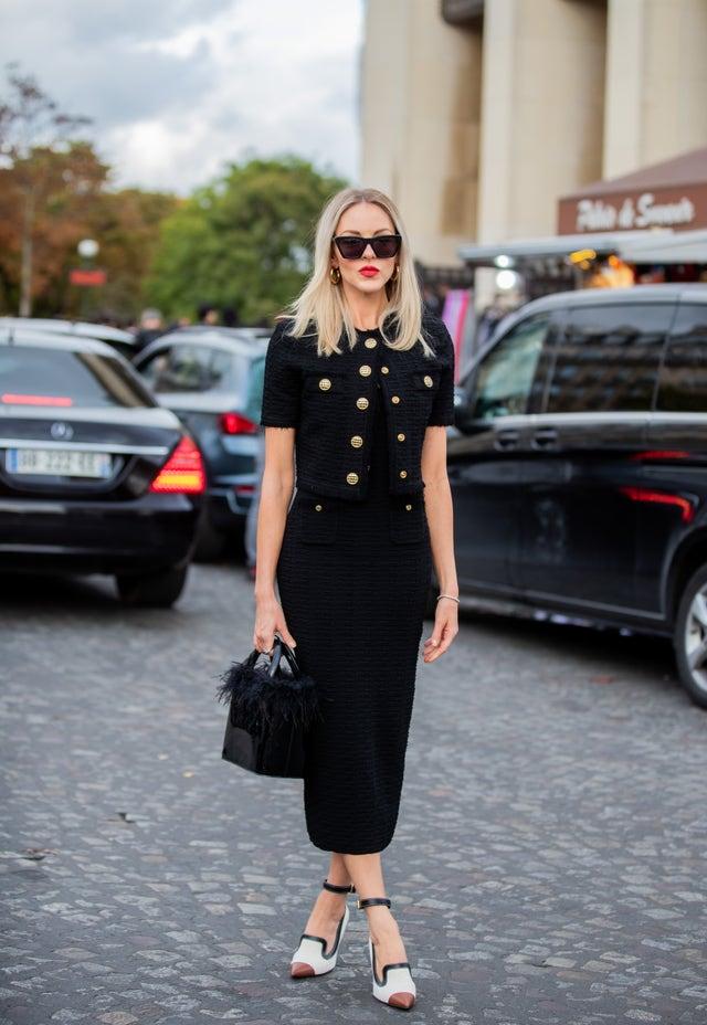 zara vestido negro chanel tweed
