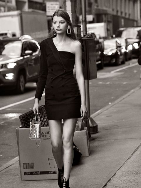 Photograph, Shoulder, White, Black, Clothing, Street fashion, Human leg, Black-and-white, Snapshot, Little black dress,