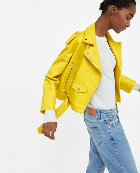 Clothing, Yellow, White, Outerwear, Jacket, Blazer, Jeans, Standing, Fashion, Formal wear,