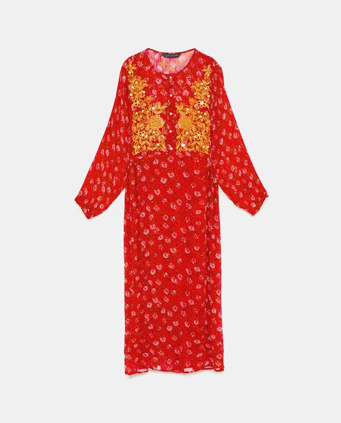 Clothing, Red, Day dress, Orange, Yellow, Dress, Sleeve, Pattern, Pink, Design,