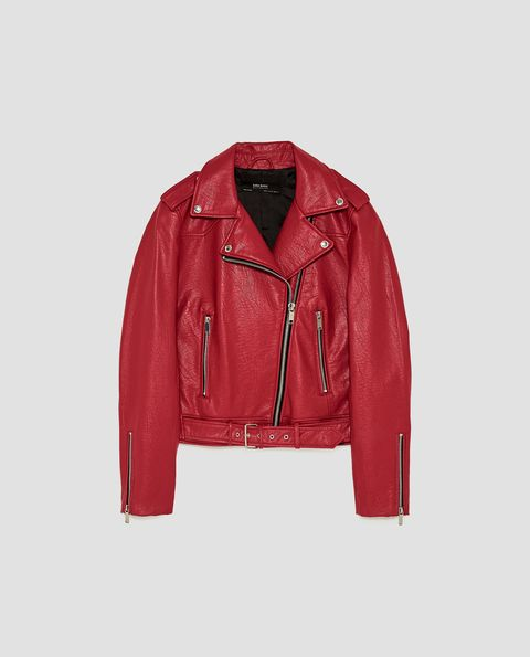 Clothing, Jacket, Leather, Leather jacket, Outerwear, Red, Sleeve, Textile, Zipper, Top,