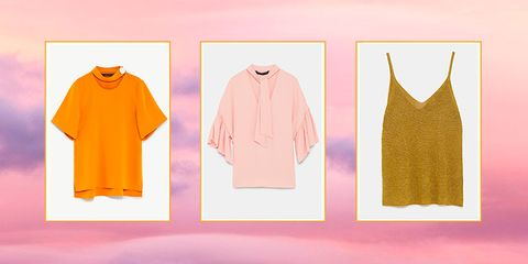 Clothing, Pink, Yellow, Peach, Outerwear, Orange, Sleeve, T-shirt, Blouse, Illustration,