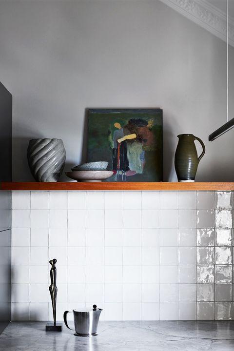 Shelf, Tile, Furniture, Room, Floor, Interior design, Table, Wall, Flooring, Shelving,