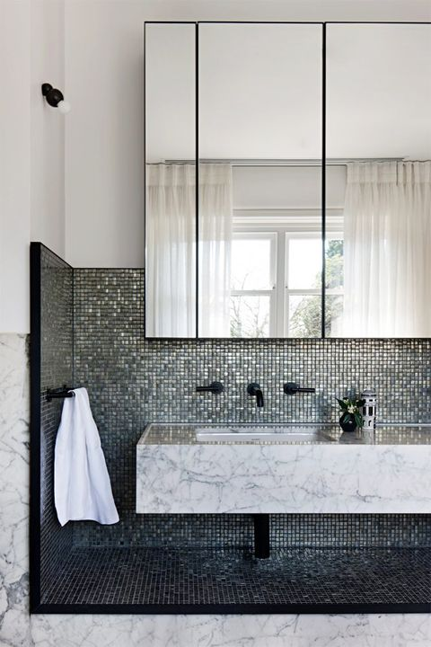 Tile, Black, Room, Wall, Floor, Black-and-white, Bathroom, Architecture, Flooring, Window,