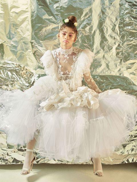 White, Clothing, Dress, Fashion, Costume design, Costume, Footwear, Ballet tutu, Gown, Victorian fashion,