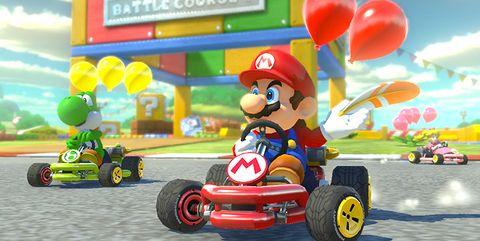 Kart racing, Mario, Toy, Mode of transport, Vehicle, Games, Cartoon, Go-kart, Fictional character, Play,