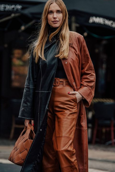 Clothing, Street fashion, Fashion, Trench coat, Fashion model, Outerwear, Coat, Overcoat, Brown, Leather,