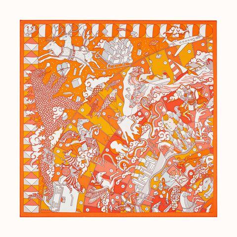 zijden sjaal in oranje wit met paarden print van hermès