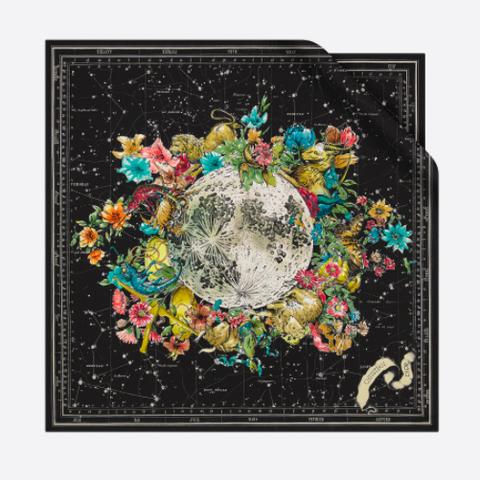 zijden zodiac sjaal zwart met bloemen van dior