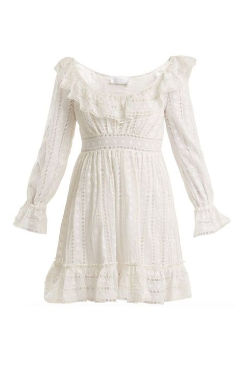 Clothing, White, Dress, Sleeve, Lace, Day dress, Beige, Blouse, Cocktail dress, Ruffle,