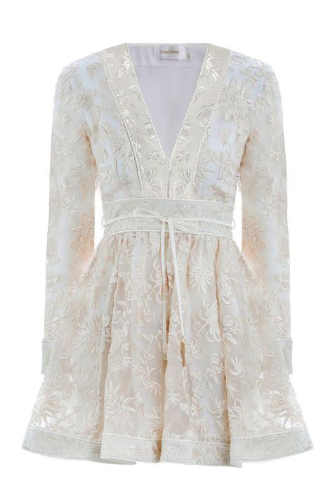 Clothing, White, Sleeve, Dress, Outerwear, Lace, Beige, Blouse, Top, Cocktail dress,