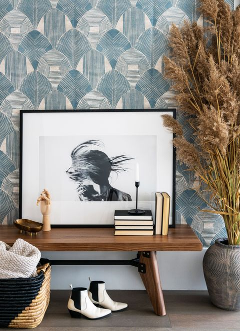 Room, Furniture, Interior design, Wall, Living room, Table, Design, Wallpaper, Branch, House,