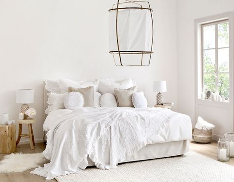 Bed, Furniture, White, Bedroom, Bed frame, Room, Bedding, Bed sheet, Interior design, Floor,