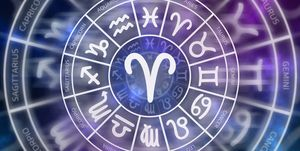 Zodiac Aries symbol inside of horoscope circle