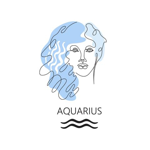 zodiac sign aquarius one line vector illustration in the style of minimalism