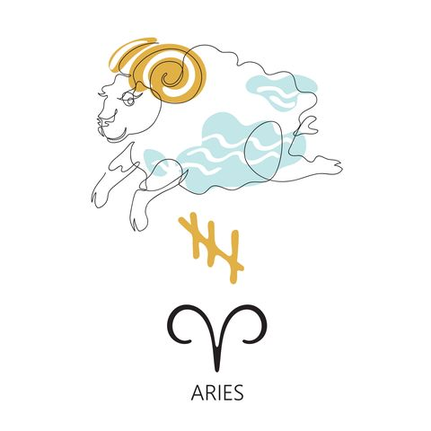 zodiac sign aries one line vector illustration in the style of minimalism continuous line