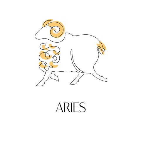 zodiac sign aries one line vector illustration in the style of minimalism