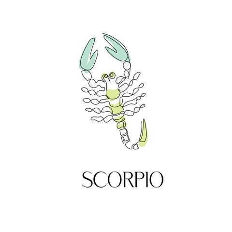 zodiac sign scorpio one line vector illustration in the style of minimalism