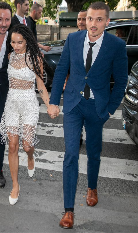 Zoe Kravitz Husband Karl Glusman Matching Jackets At Wedding