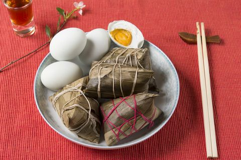 zongzi and salted duck eggs in dragon boat festival