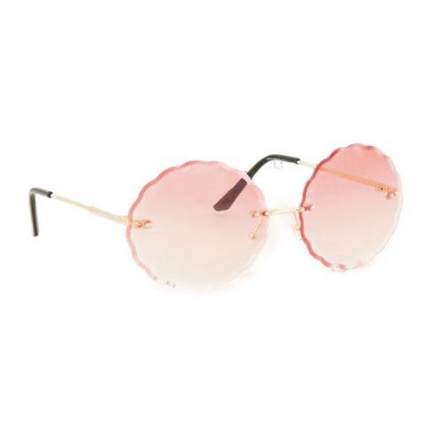 zonnebril rond roze glazen
