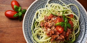 Zoodles with vegan bolognese and yeast flakes